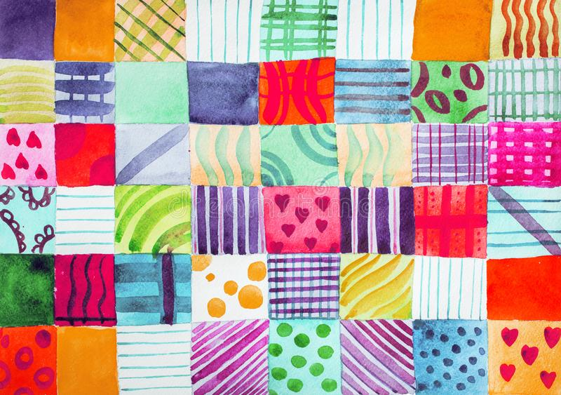 Patchwork quilt. Set of colorful prints patterns watercolor drawing stock photos