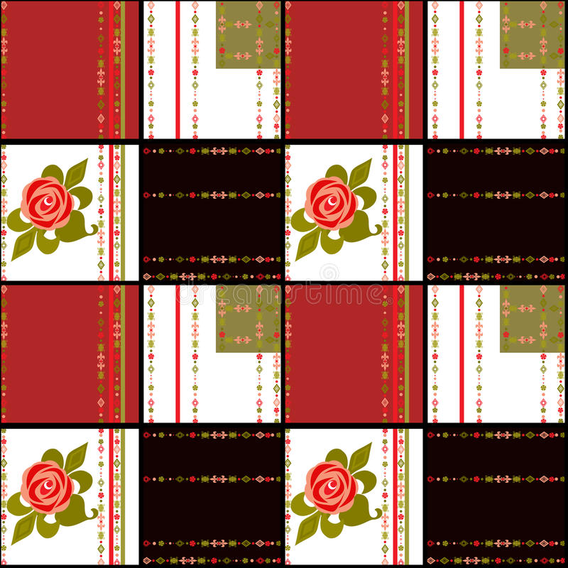 Patchwork retro red white checkered floral texture pattern background stock illustration