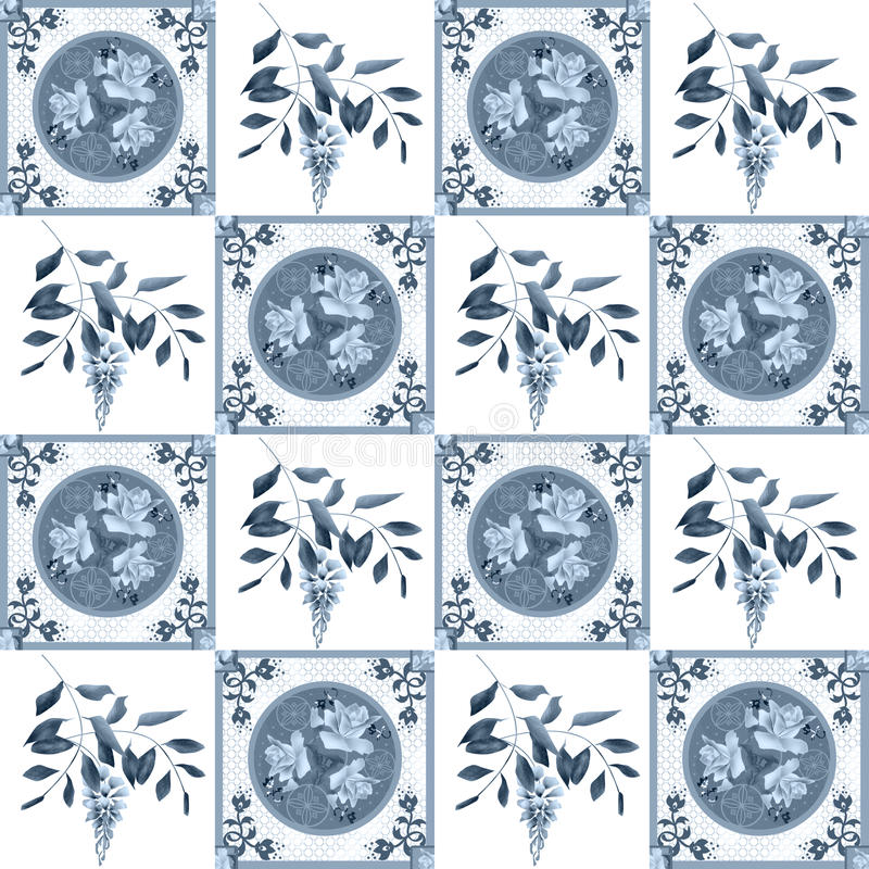 Patchwork retro roses and glicinia floral textile texture patter. Patchwork retro blue roses and glicinia floral textile texture pattern background stock illustration