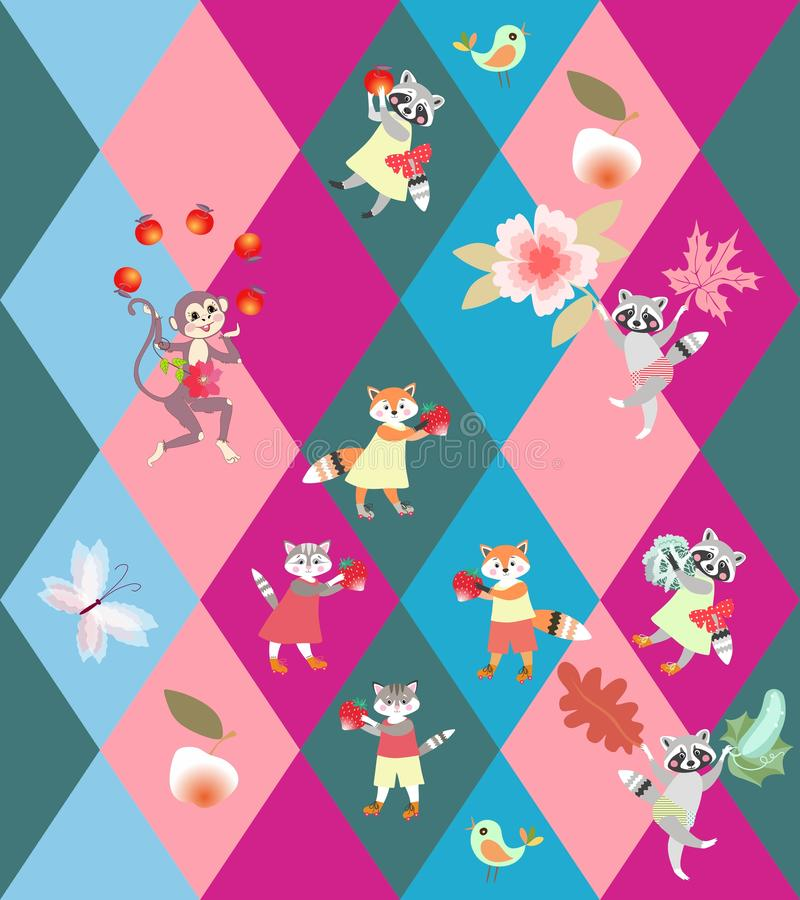 Patchwork rhombus background with cute funny animals - little cats, foxes, raccoons and monkey. Seamless vector pattern for kid vector illustration