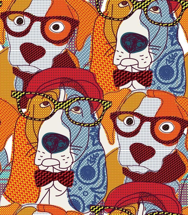 Patchwork sans couture de modèle de chien illustration libre de droits