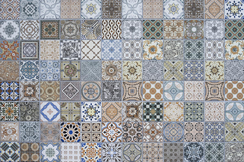 Patchwork sans couture magnifique Tin Glazed Ceramic Tilework Pattern peint coloré de collection d'ornement de plancher de tuiles photographie stock libre de droits