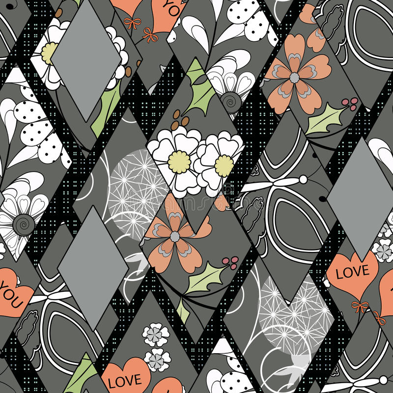 Patchwork seamless floral pattern gray to black background stock illustration