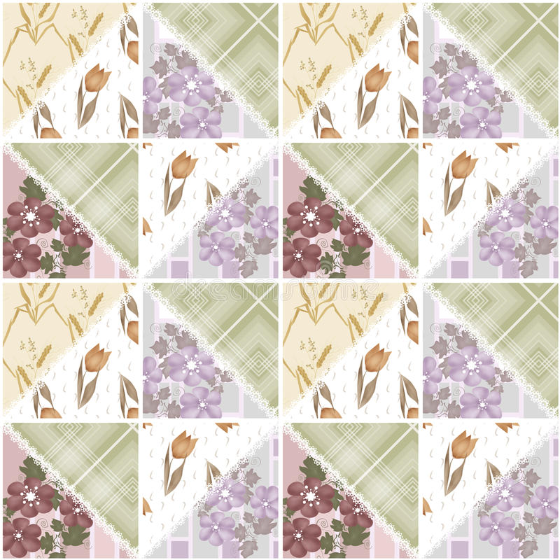 Download Patchwork Seamless Lace Retro Floral Pattern Stock Illustration - Image: 42108101