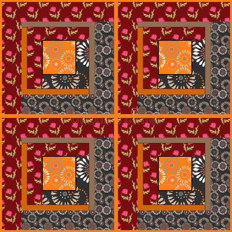 Patchwork seamless pattern floral red ornamental royalty free illustration
