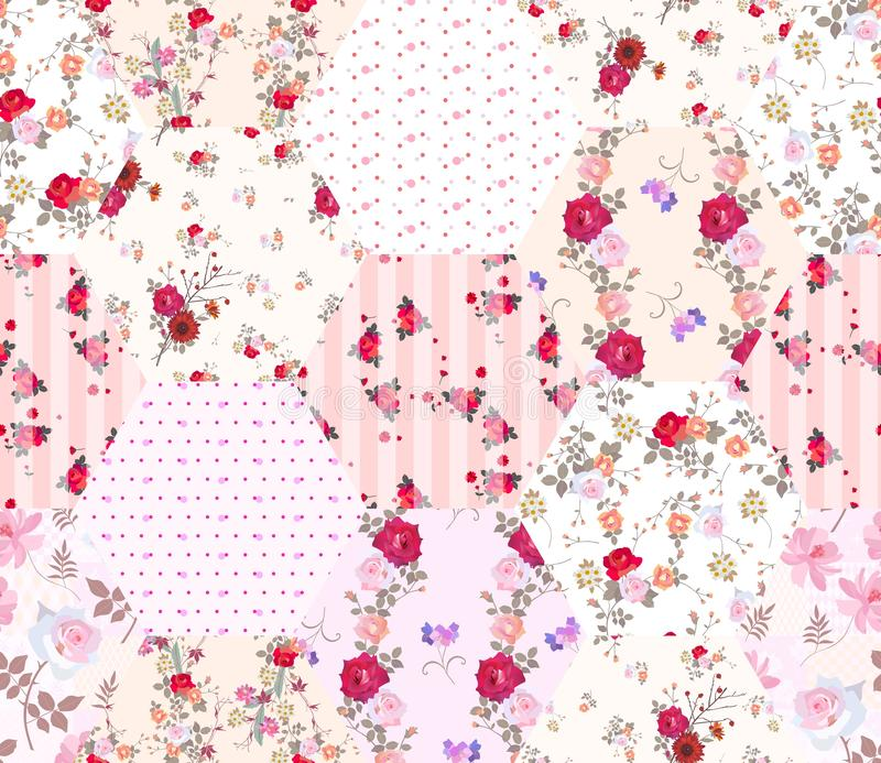 Patchwork seamless pattern from hexagon patches with floral and polka dot ornament. Romantic print with beautiful flowers stock illustration