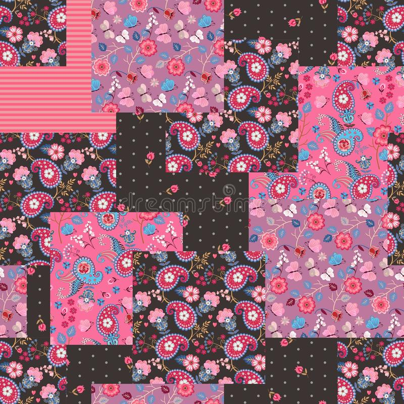 Patchwork seamless pattern with paisley and floral ornaments. Quilting design. Beautiful print for fabric.  stock illustration