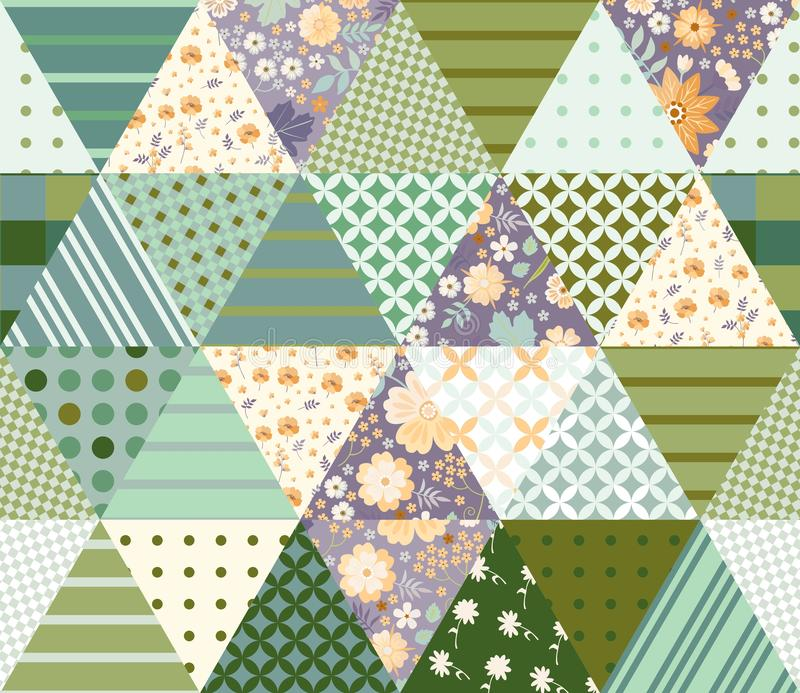 Patchwork seamless pattern with triangle patches. Composition with floral and geometric ornament royalty free illustration