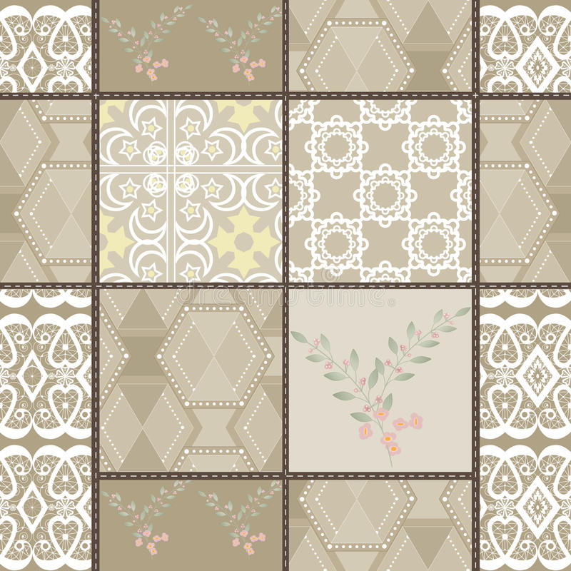 Patchwork seamless retro colors lace pattern texture background. Patchwork seamless retro beige colors lace pattern texture background vector illustration