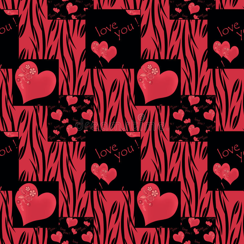 Patchwork tekstury bezszwowa deseniowa czerwień na czarnym tle ilustracji