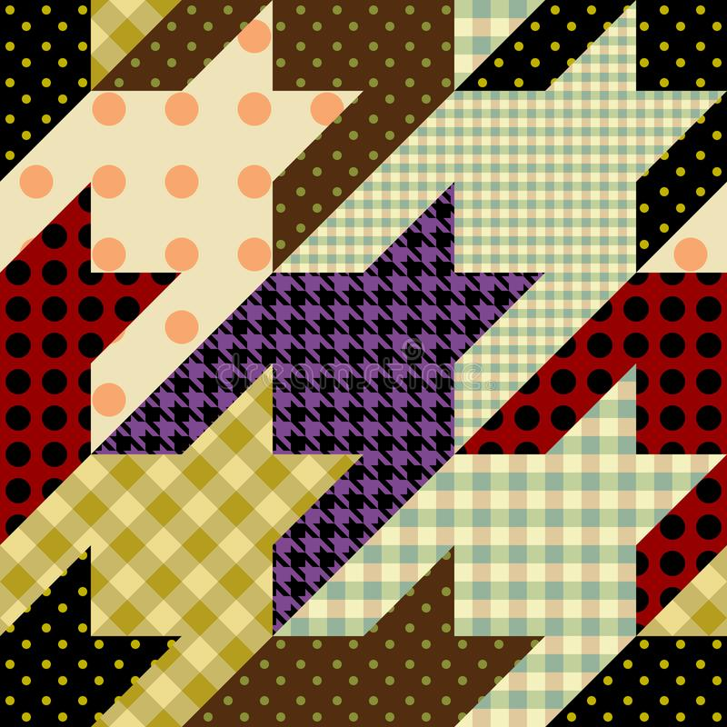 Patchwork textile pattern. Seamless quilting design background. Seamless background pattern. Patchwork hounds-tooth pattern. Vector image stock illustration