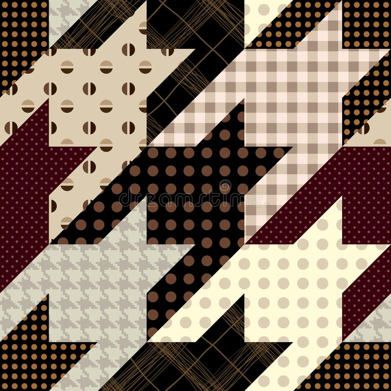 Patchwork textile pattern. Seamless quilting design background. Seamless background pattern. Patchwork hounds-tooth pattern. Vector image royalty free illustration