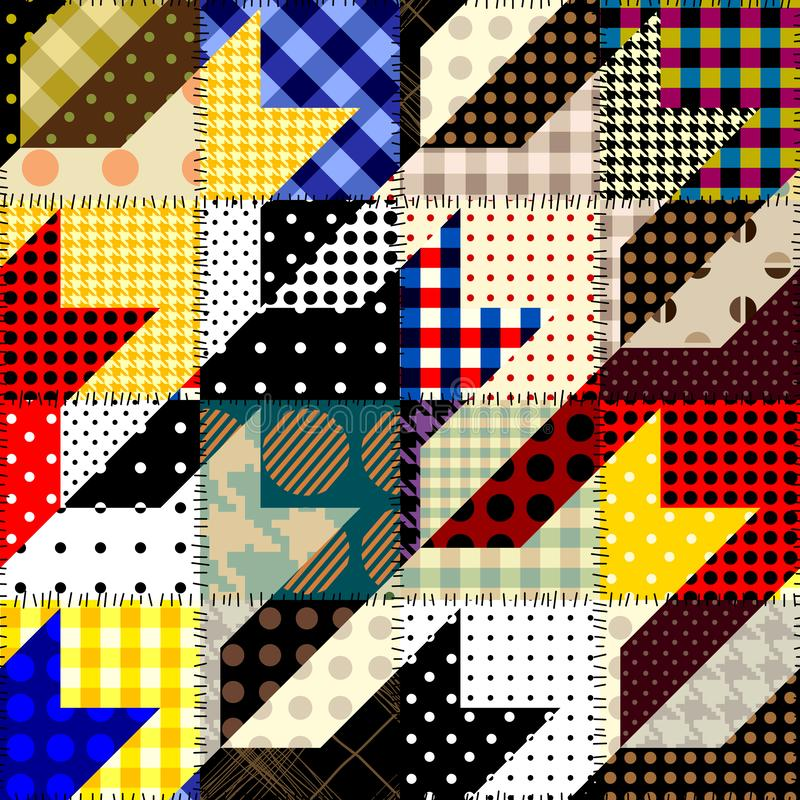 Patchwork textile pattern. Seamless quilting design background. Seamless background pattern. Patchwork hounds-tooth pattern. Vector image vector illustration