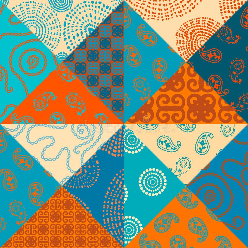Patchwork textile pattern. Seamless quilting design background. vector illustration