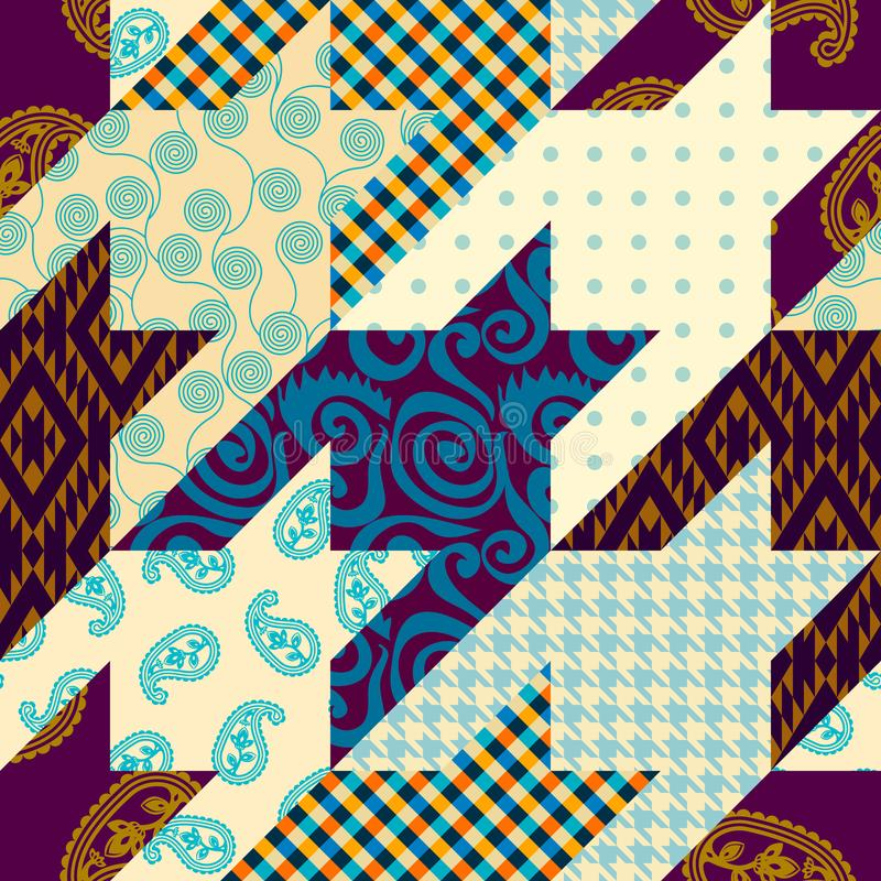 Patchwork textile pattern. Seamless quilting design background. Seamless background pattern. Patchwork pattern. Vector image stock illustration