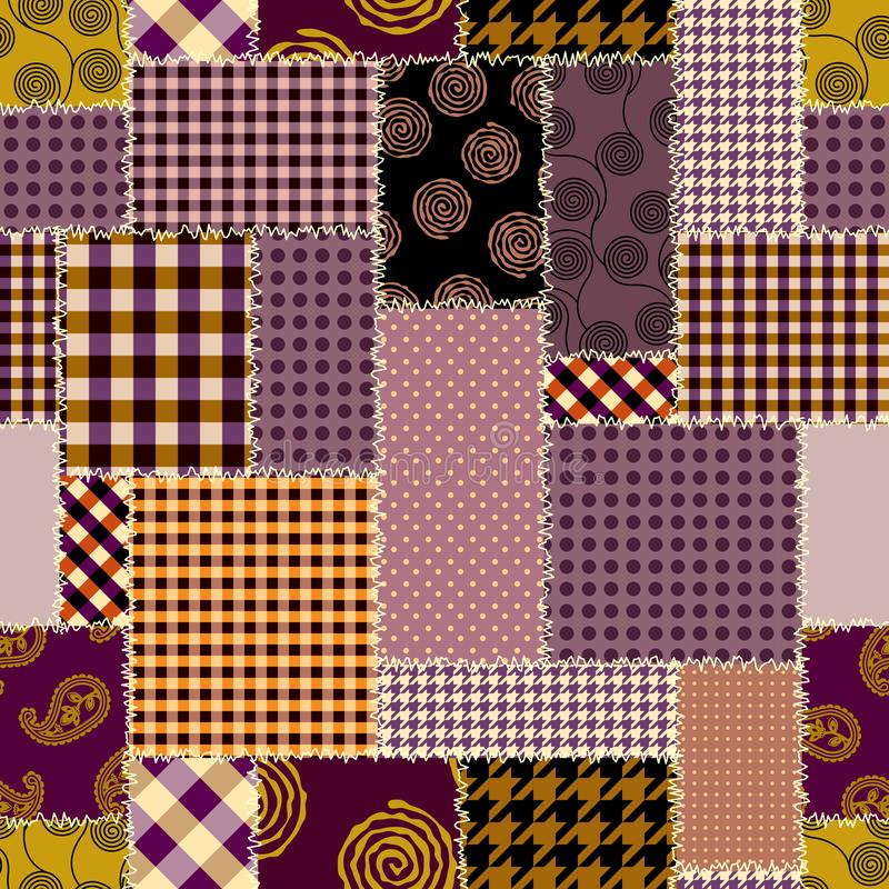 Patchwork textile pattern. Seamless quilting design background. royalty free illustration