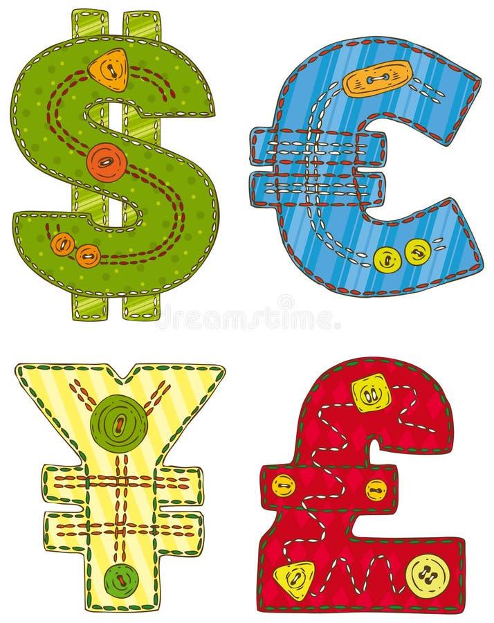 Patchwork waluty symbole ilustracja wektor