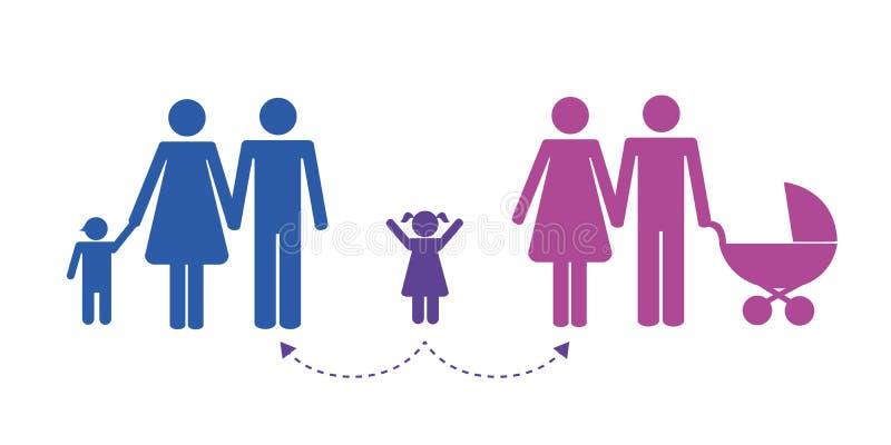 Patchworkfamiljen med behandla som ett barn pictogramen för tidledning royaltyfri illustrationer
