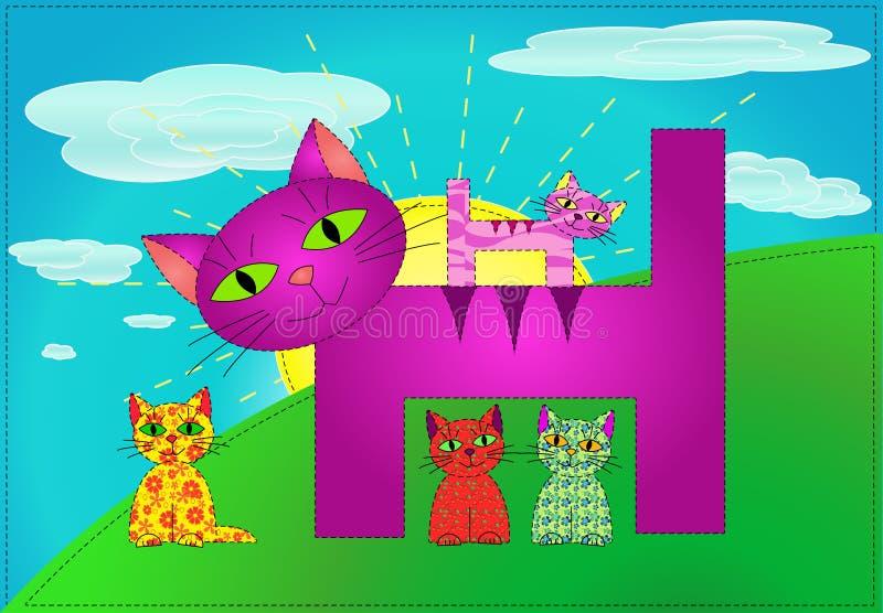 Patchworkkatzenfamilie (Vektor) stockfotografie