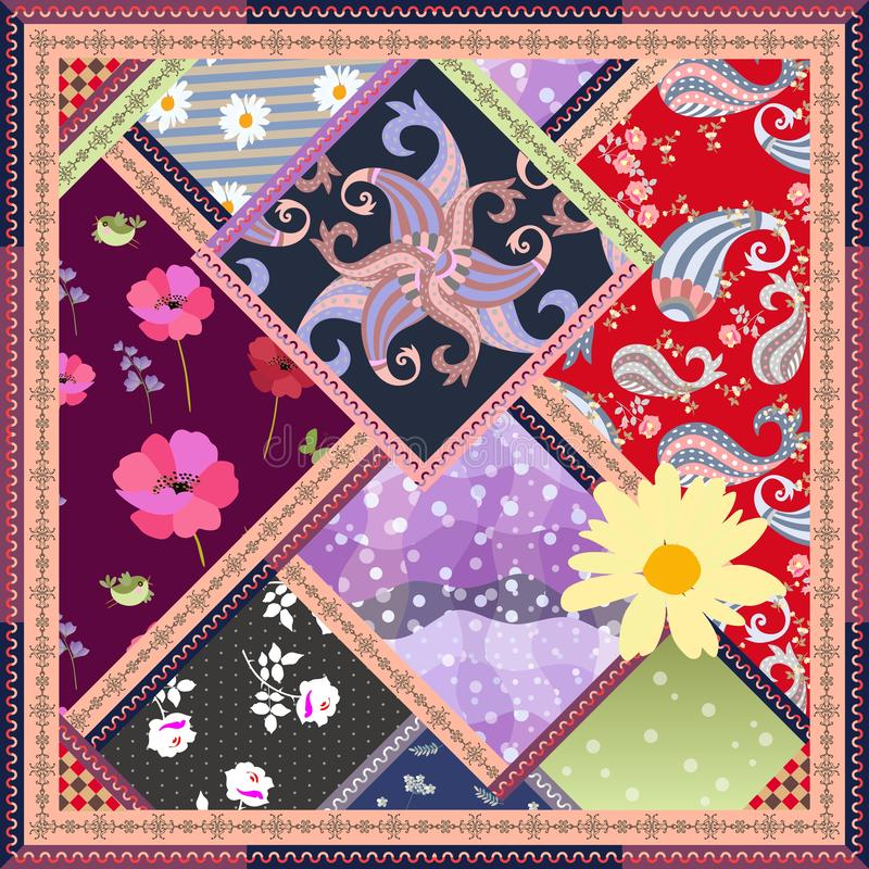 Patchworkmodell med blommor, fåglar, paisley och den dekorativa ramen dekorativ elementtappning Hälsningkort, doily, matta royaltyfri illustrationer