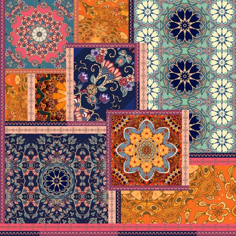Patchworkmodell Stylized blommor Indier arabiska, moroccan bevekelsegrunder Etniskt tryck för tyg stock illustrationer