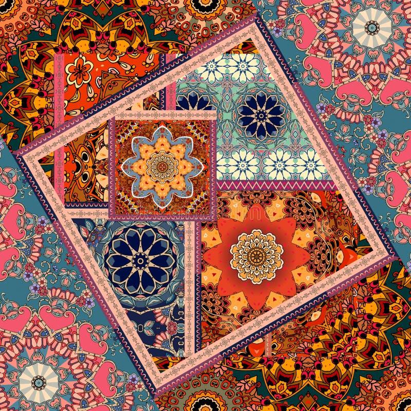 Patchworkmuster Ethnischer quadratischer Teppich in der indischen Art mit Blumenmandalen und -Ornamentrahmen stock abbildung
