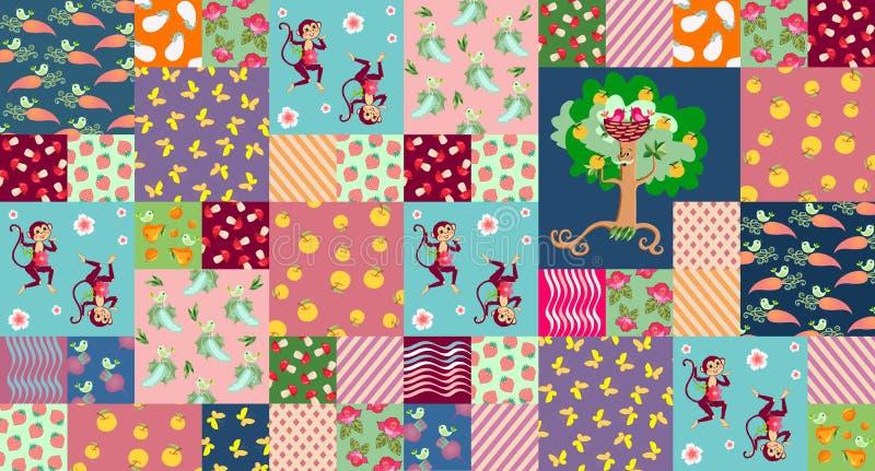 Patchworkmuster für Baby Schöne Affen, nette Vögel, netter Apfelbaum und unterschiedliches Gemüse lizenzfreie abbildung