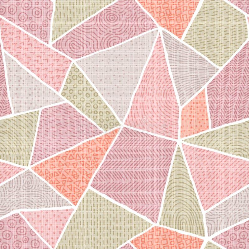 patchworku bezszwowy deseniowy Rocznika pastelu tło Koral, ilustracji