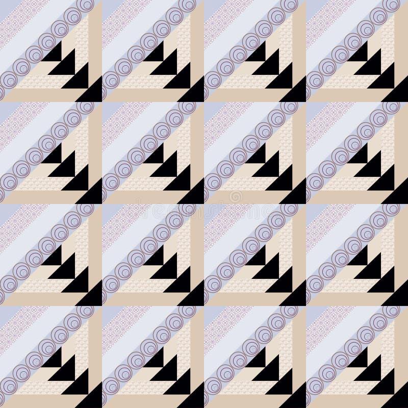 Patchworku dekoracyjny bezszwowy deseniowy jaskrawy tło ilustracja wektor