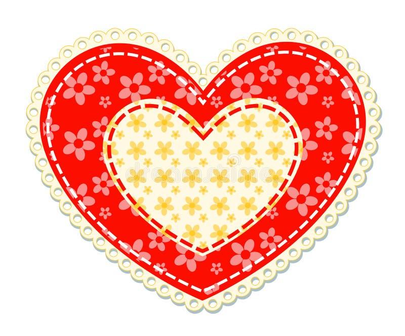 Patchworku i koronki serce ilustracja wektor