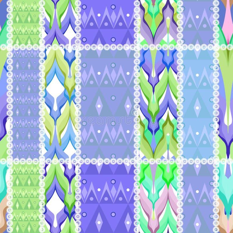 Patchworku projekta ornamentu pastelowych kolorów bezszwowy deseniowy backgro ilustracji