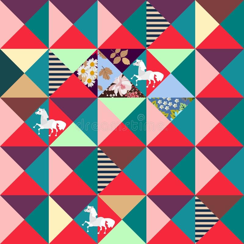 Patchworku wzór od łat w kształcie trójboki Biali konie, kwiaty, liście i lampasy, niebieski obraz nieba tęczową chmura wektora D ilustracja wektor