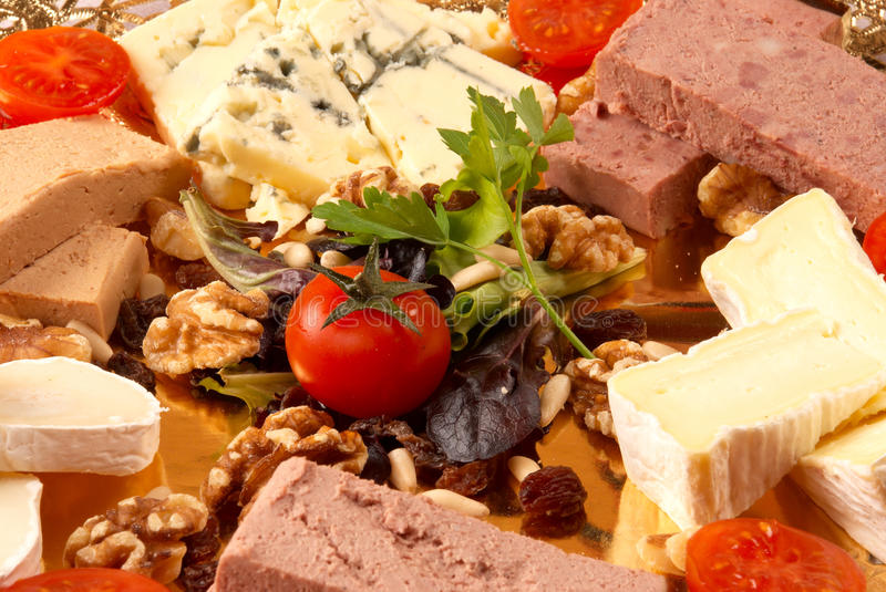 Pate and cheese starter. Cold pate and cheese starter with nuts stock photos