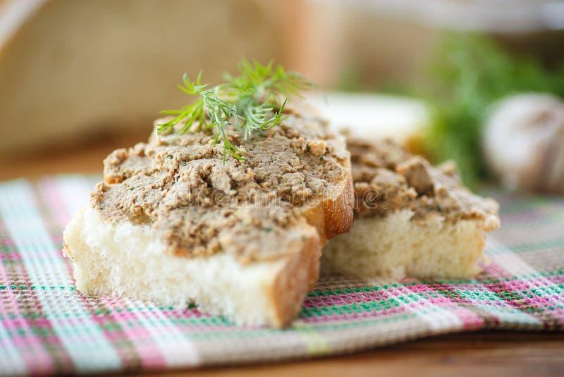 Pate med bröd royaltyfri fotografi