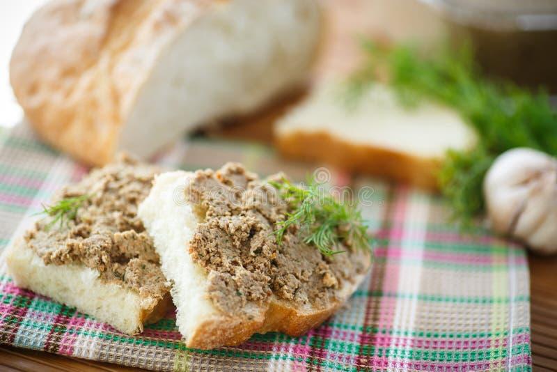Pate med bröd royaltyfri foto