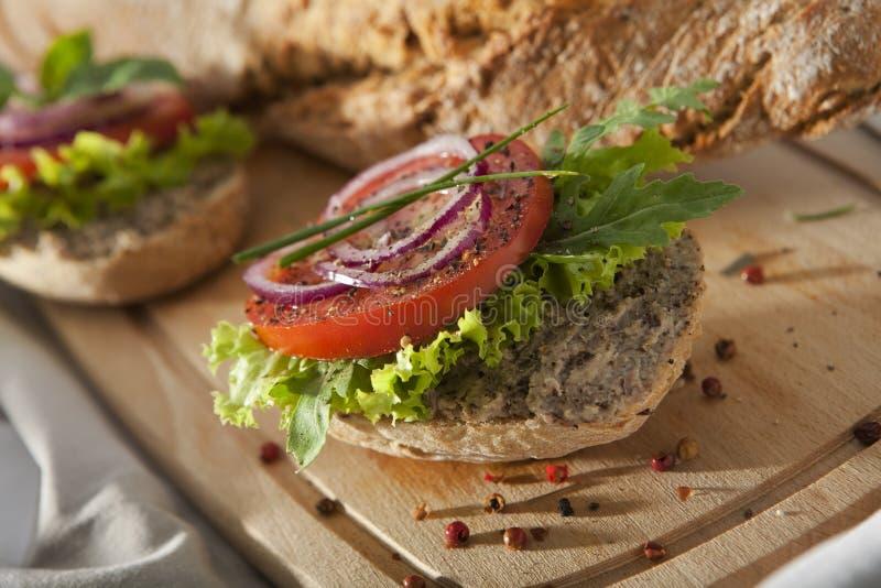 Pate Sandwich on Cutting Desk. stock photos