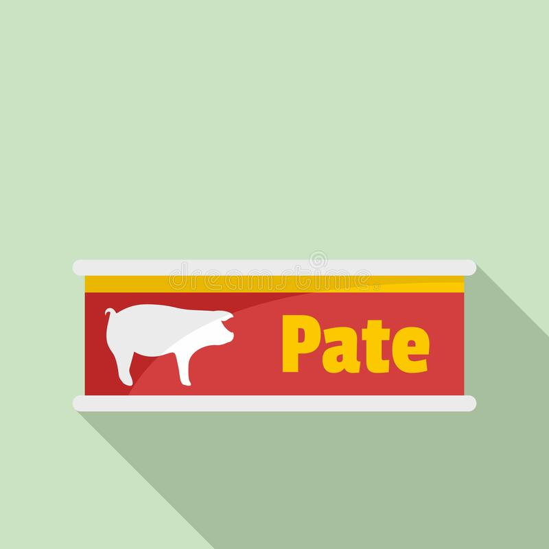 Pate tin can icon, flat style stock illustration