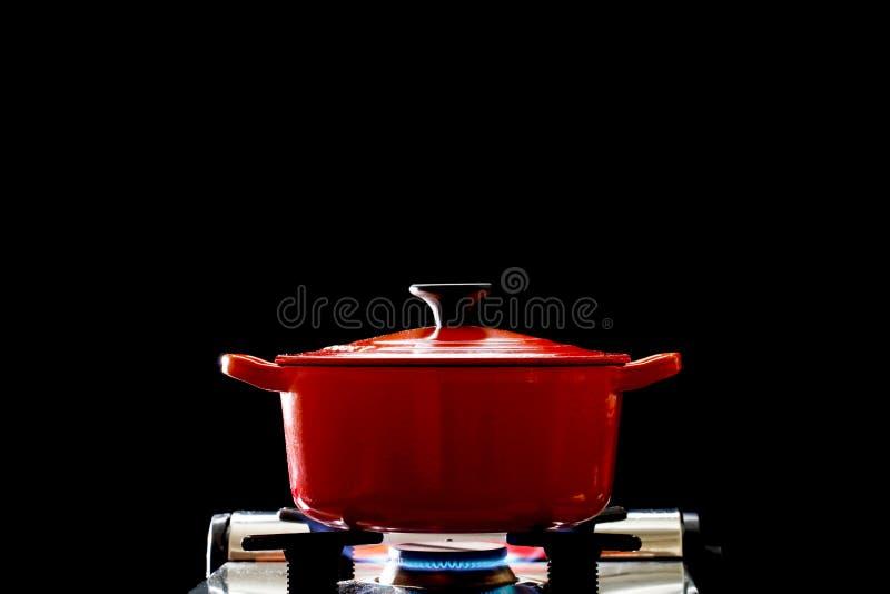 Patelnia z emalią kuchenną, obraz gotowania obraz stock