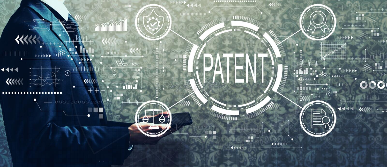 Patent concept with businessman holding a tablet royalty free stock photos