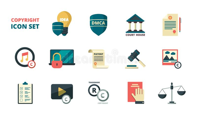Patent copyright icons. Intellectual property individual personal rights legal regulation quality administration vector vector illustration