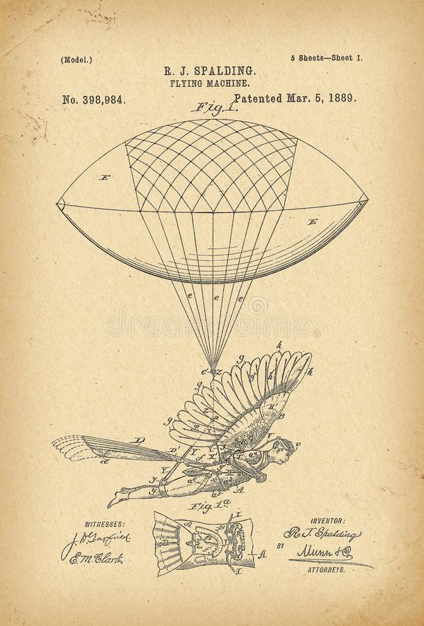 1889 Patent Flying machine Air ship history invention. 1889 Patent Flying machine Air ship history innovation stock illustration