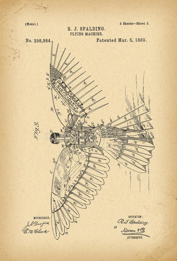 1889 Patent Flying machine history invention. 1889 Patent Flying machine history innovation vector illustration