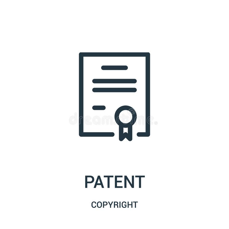 Patent icon vector from copyright collection. Thin line patent outline icon vector illustration. Linear symbol for use on web and mobile apps, logo, print vector illustration