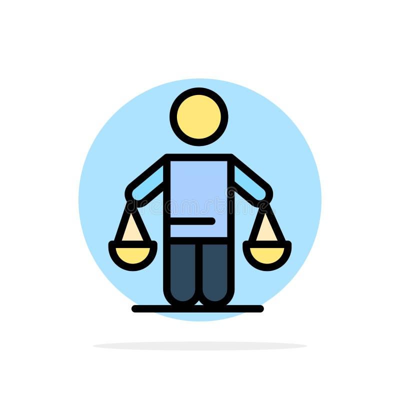 Patent, Schlussfolgerung, Gericht, Urteil, flache Ikone Farbe Gesetzesdes abstrakten Kreis-Hintergrundes stock abbildung
