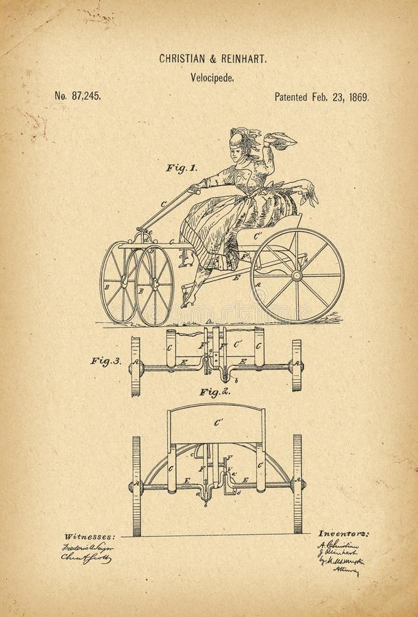 1869 Patent Velocipede Bicycle history invention. 1869 Patent Velocipede Bicycle history innovation vector illustration