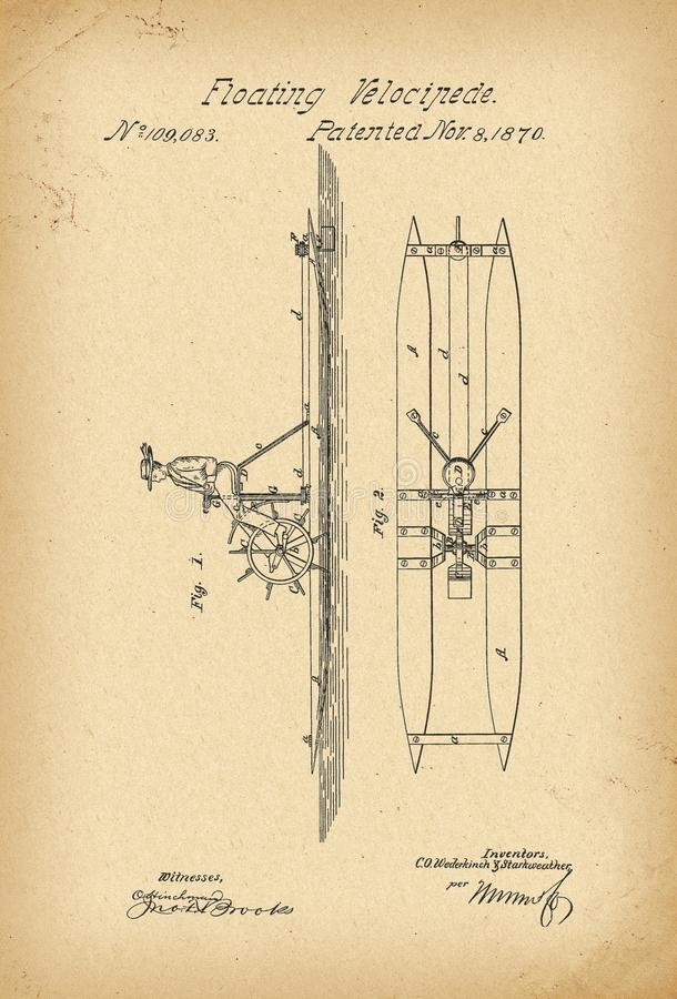 1870 Patent Velocipede floating Bicycle water Unicycle history invention stock illustration