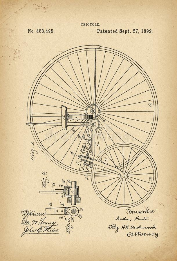 1892 Patent Velocipede Tricycle Bicycle archival history invention stock illustration