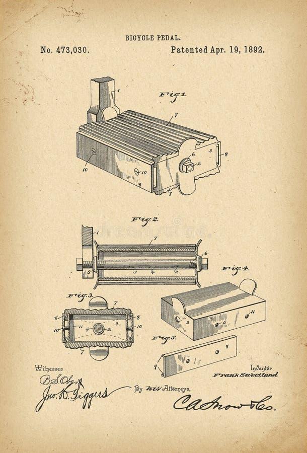 1892 Patent Velocipedepedal Fahrrad-Geschichtserfindung lizenzfreies stockfoto