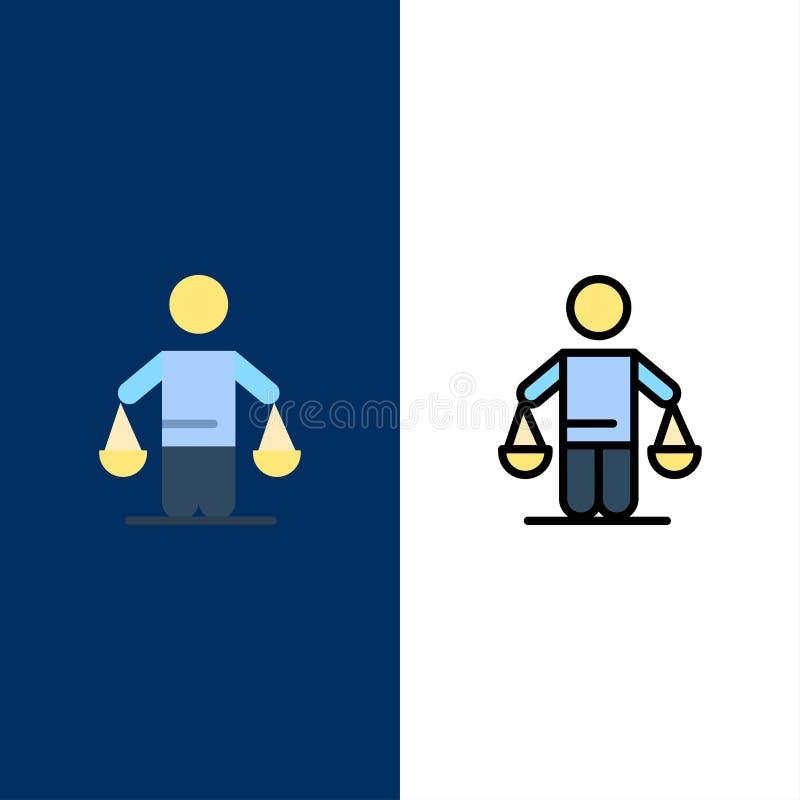 Patente, conclusión, corte, juicio, iconos de la ley El plano y la línea icono llenado fijaron el fondo azul del vector ilustración del vector