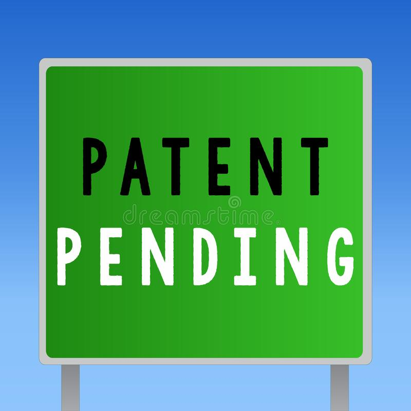 Patente do texto da escrita da palavra pendente Conceito do negócio para o pedido já arquivado mas concedido não ainda a prossecu ilustração stock